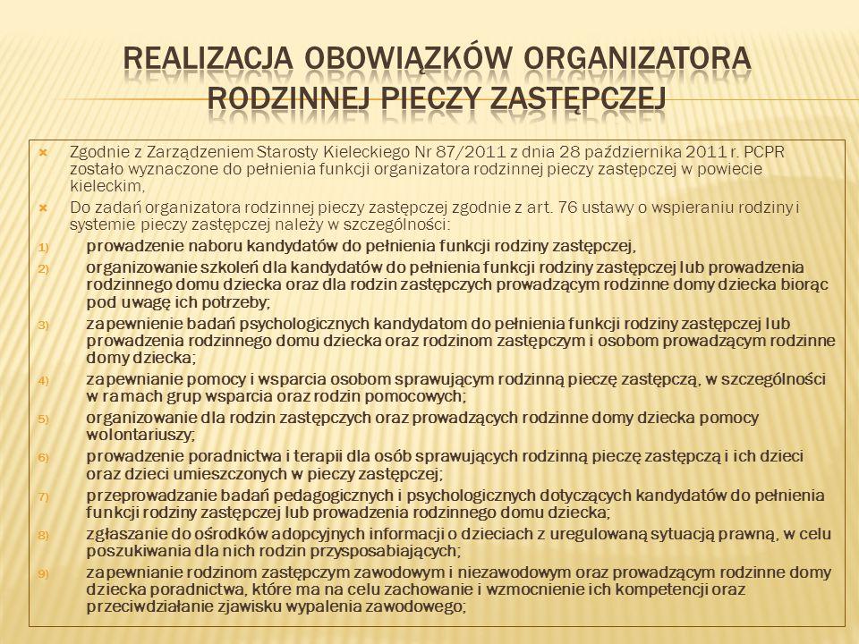 Realizacja obowiązków organizatora rodzinnej pieczy zastępczej