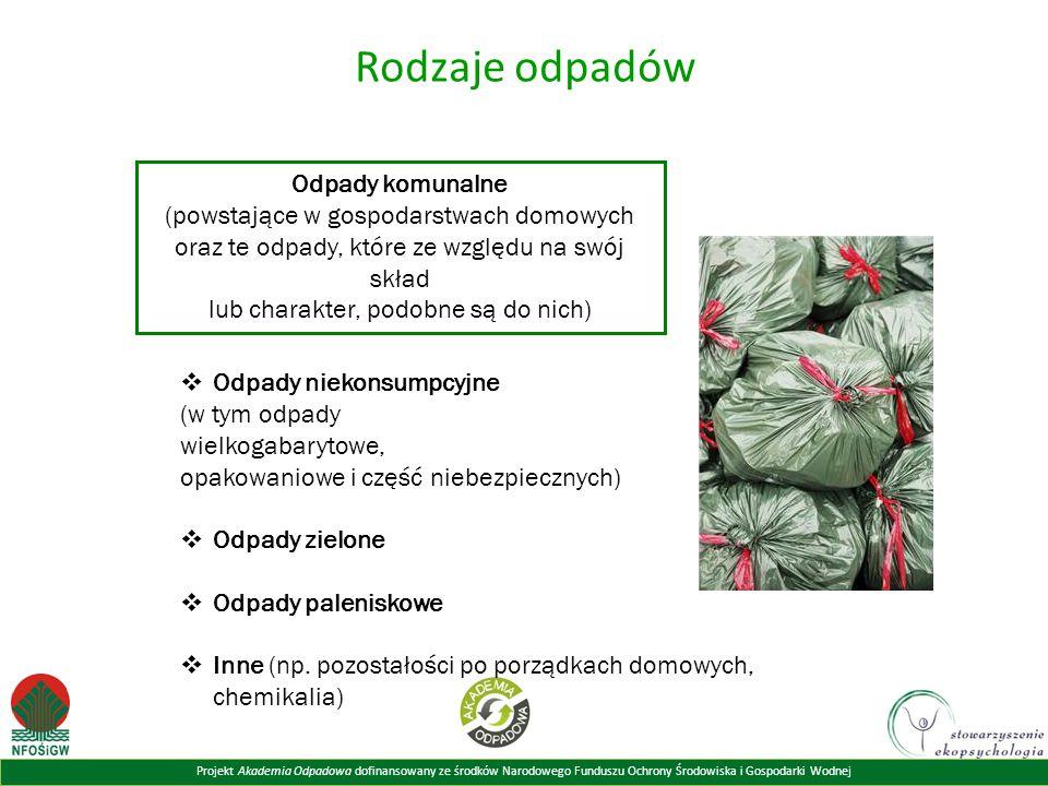 Rodzaje odpadów Odpady komunalne (powstające w gospodarstwach domowych