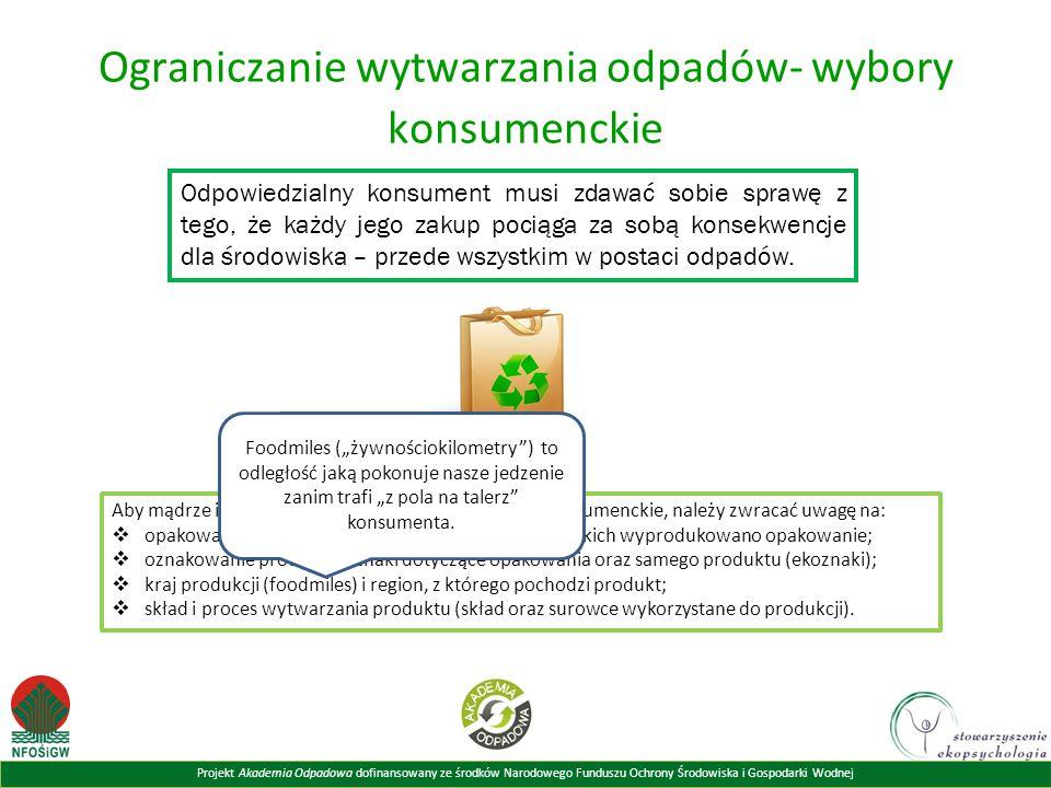 Ograniczanie wytwarzania odpadów- wybory konsumenckie