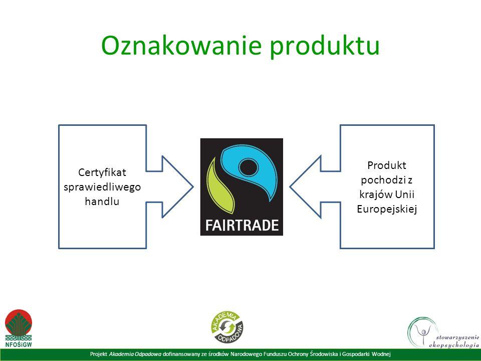 Oznakowanie produktu Produkt pochodzi z krajów Unii Europejskiej