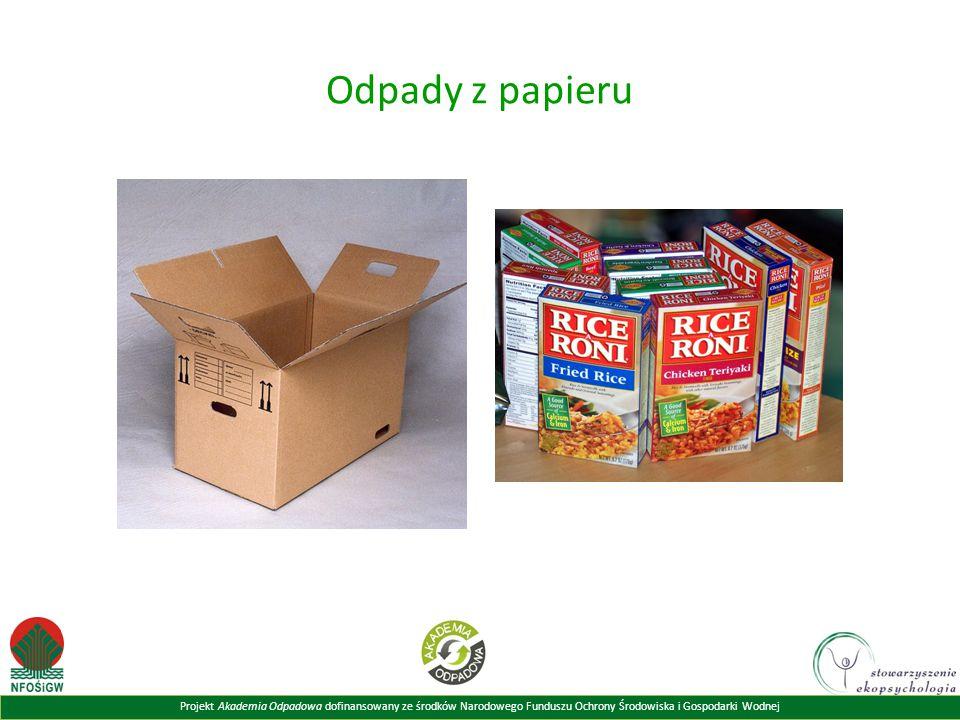 Odpady z papieru Powyższy slajd prezentuje przykłady odpadów z papieru.