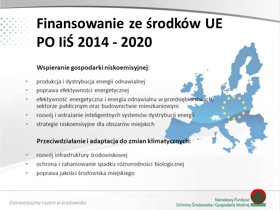 Finansowanie ze środków UE PO IiŚ 2014 - 2020