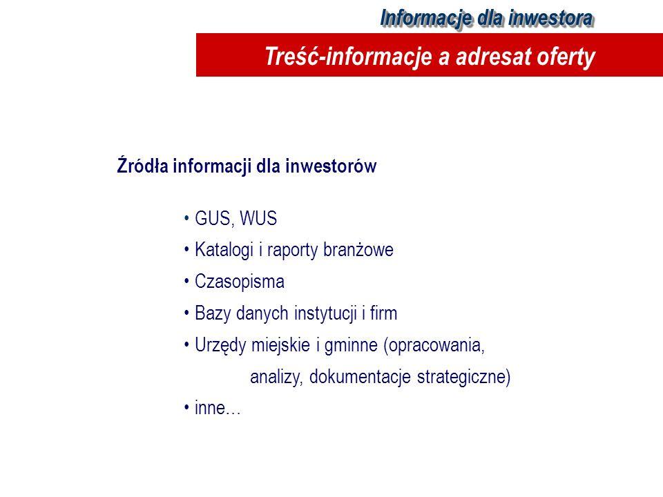 Treść-informacje a adresat oferty
