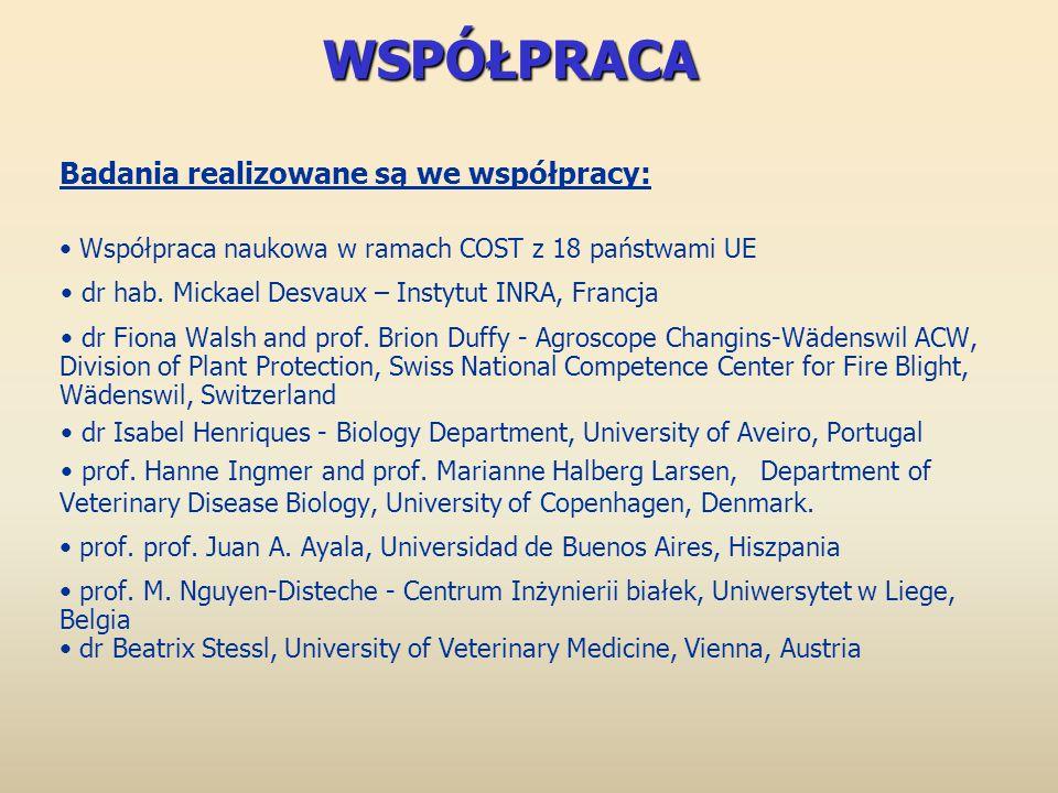 WSPÓŁPRACA Badania realizowane są we współpracy: