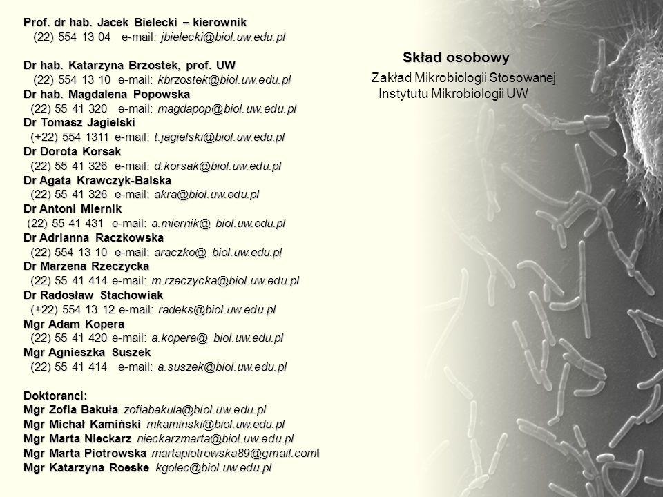 Prof. dr hab. Jacek Bielecki – kierownik (22) 554 13 04 e-mail: jbielecki@biol.uw.edu.pl