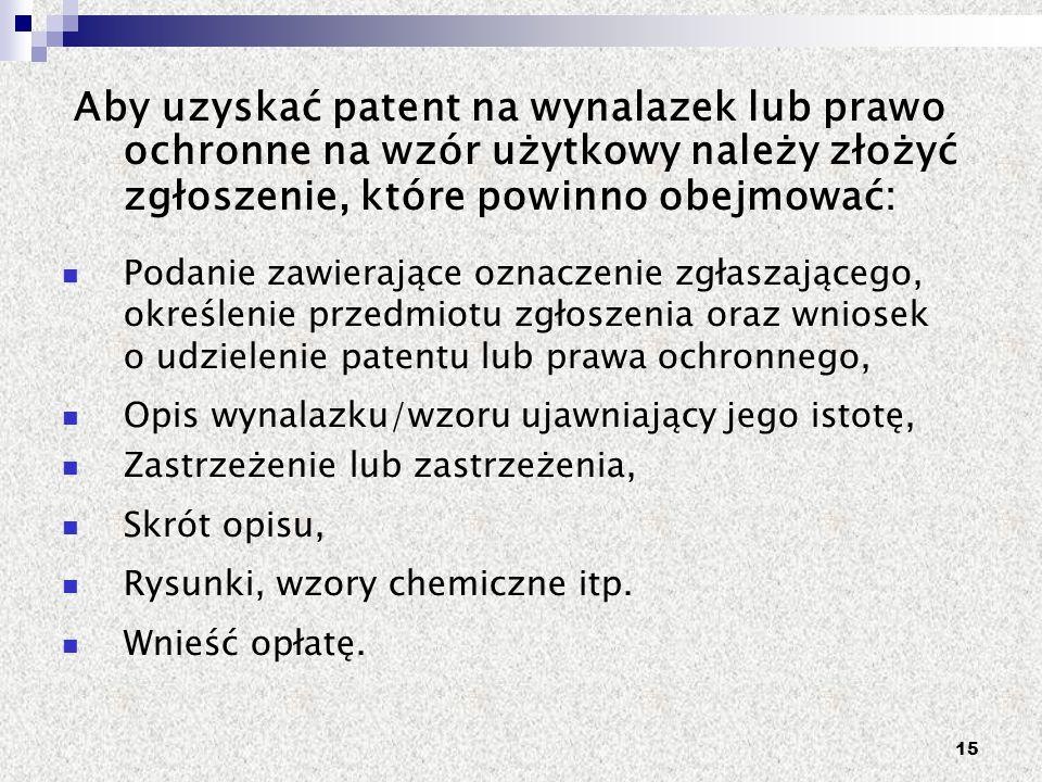 Aby uzyskać patent na wynalazek lub prawo ochronne na wzór użytkowy należy złożyć zgłoszenie, które powinno obejmować: