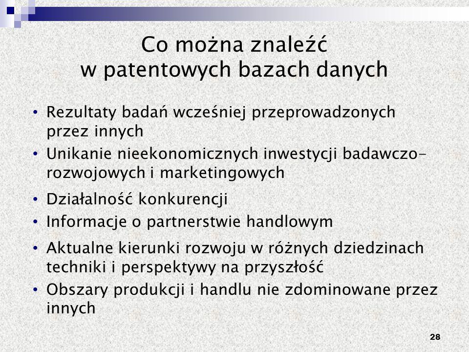 Co można znaleźć w patentowych bazach danych