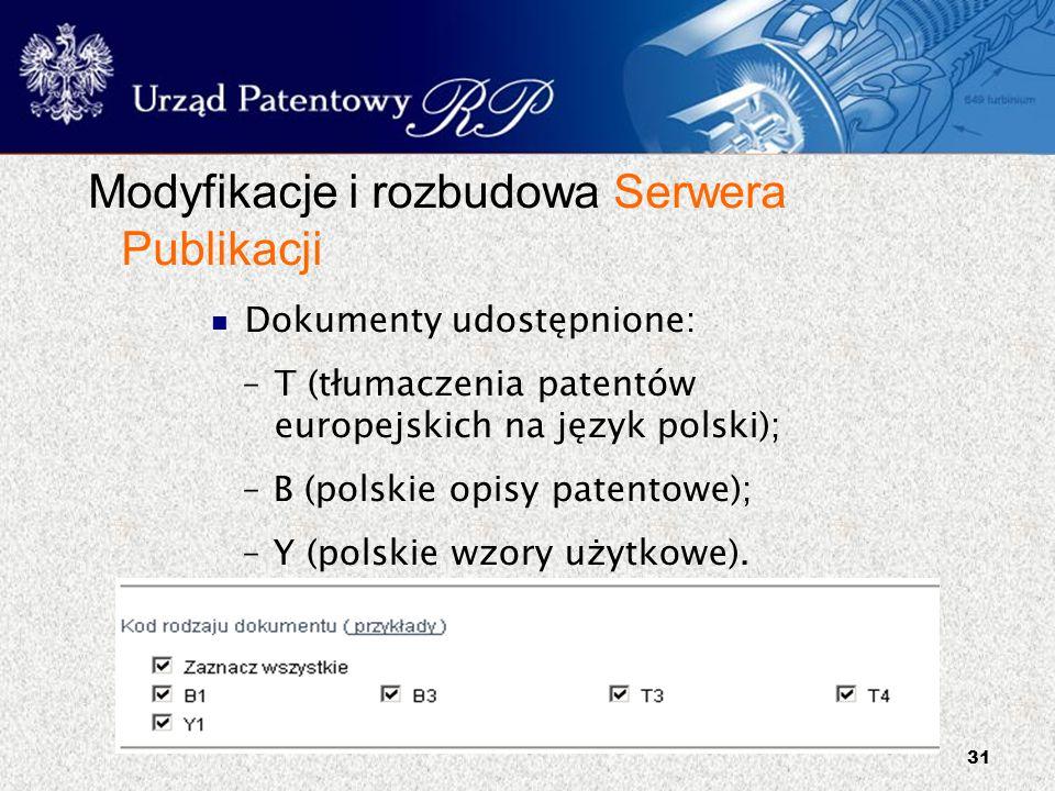 Modyfikacje i rozbudowa Serwera Publikacji