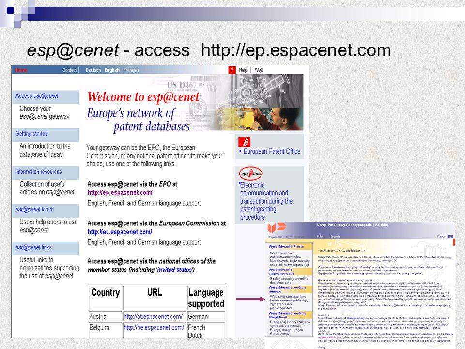 esp@cenet - access http://ep.espacenet.com