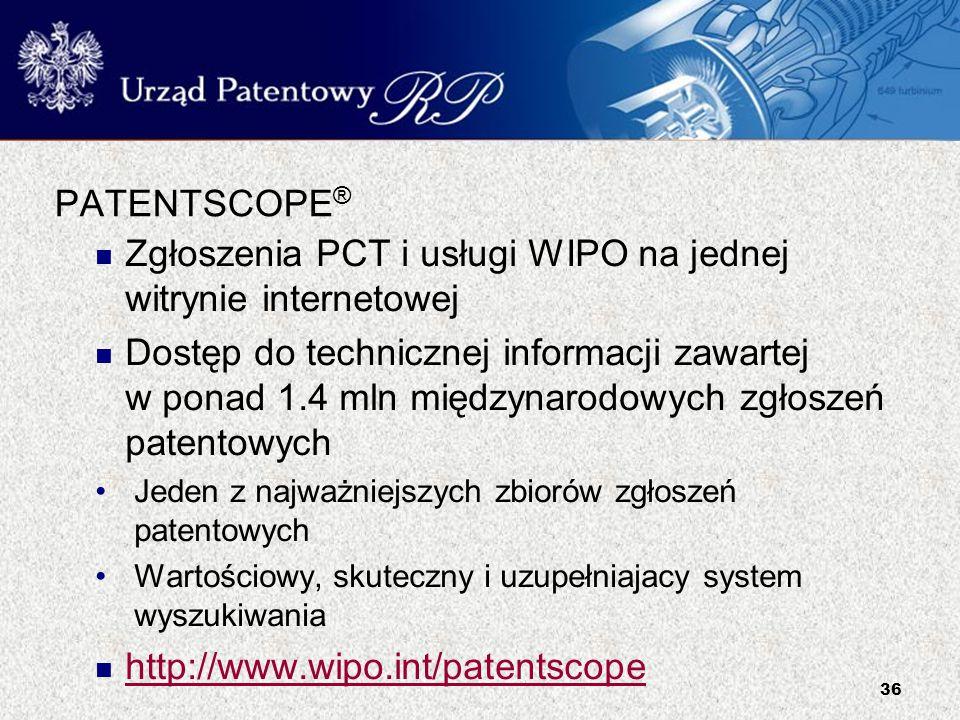 Zgłoszenia PCT i usługi WIPO na jednej witrynie internetowej