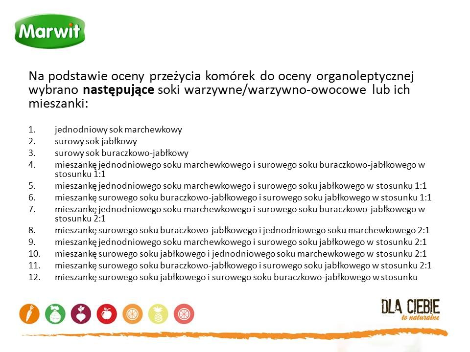 Na podstawie oceny przeżycia komórek do oceny organoleptycznej wybrano następujące soki warzywne/warzywno-owocowe lub ich mieszanki: