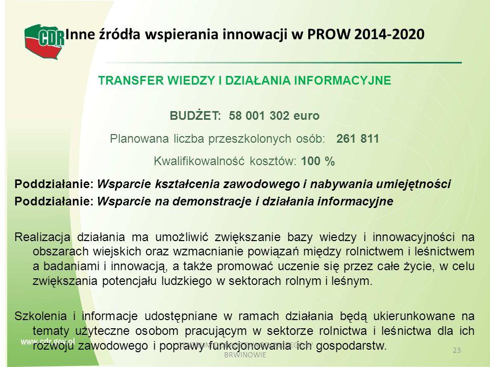 Inne źródła wspierania innowacji w PROW 2014-2020