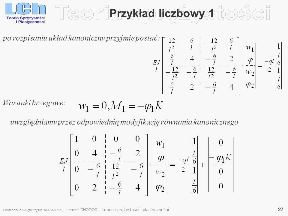 Teoria sprężystości Przykład liczbowy 1