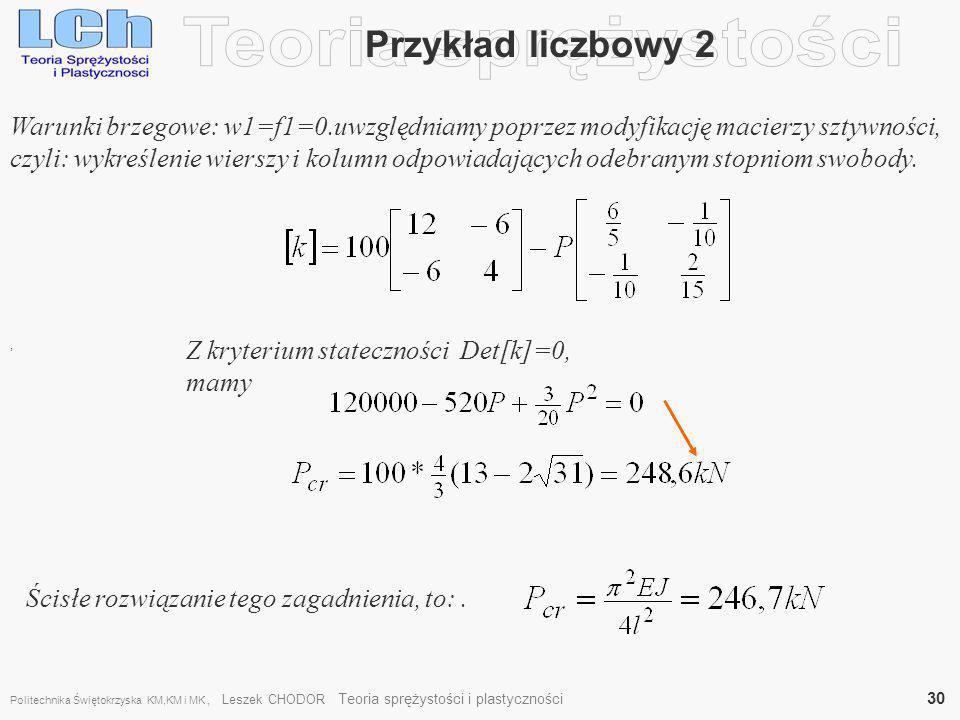 Teoria sprężystości Przykład liczbowy 2
