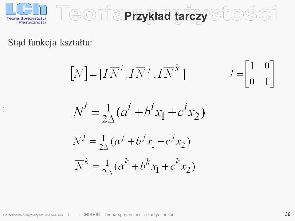 Teoria sprężystości Przykład tarczy Stąd funkcja kształtu: ,, ,