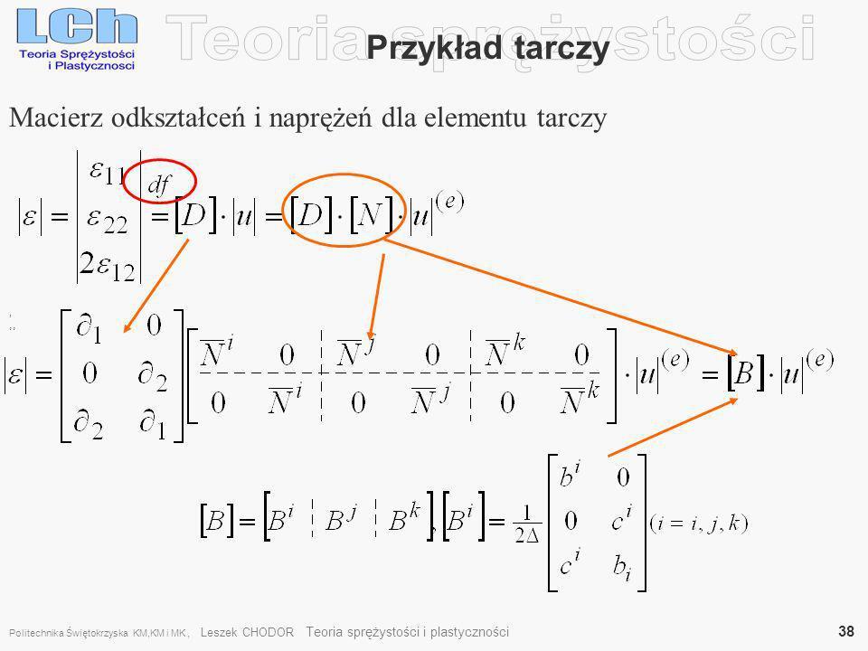 Teoria sprężystości Przykład tarczy