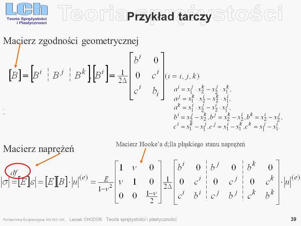 Teoria sprężystości Przykład tarczy Macierz zgodności geometrycznej