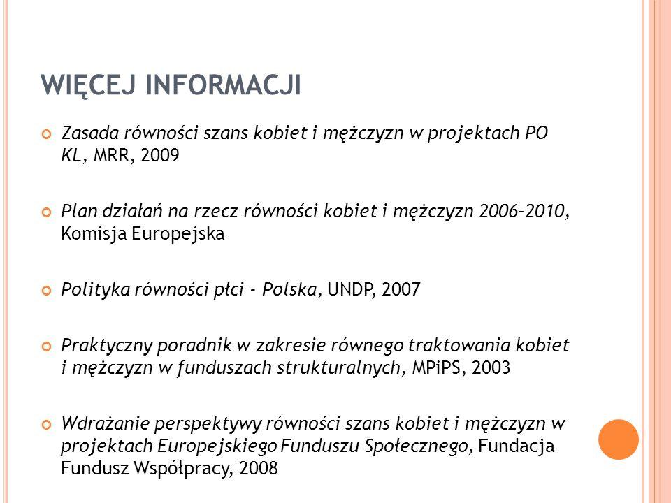 WIĘCEJ INFORMACJI Zasada równości szans kobiet i mężczyzn w projektach PO KL, MRR, 2009.