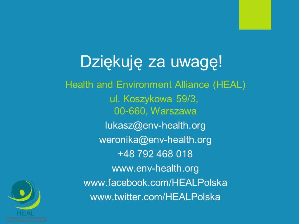 Dziękuję za uwagę! Health and Environment Alliance (HEAL)