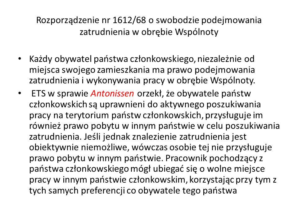 Rozporządzenie nr 1612/68 o swobodzie podejmowania zatrudnienia w obrębie Wspólnoty