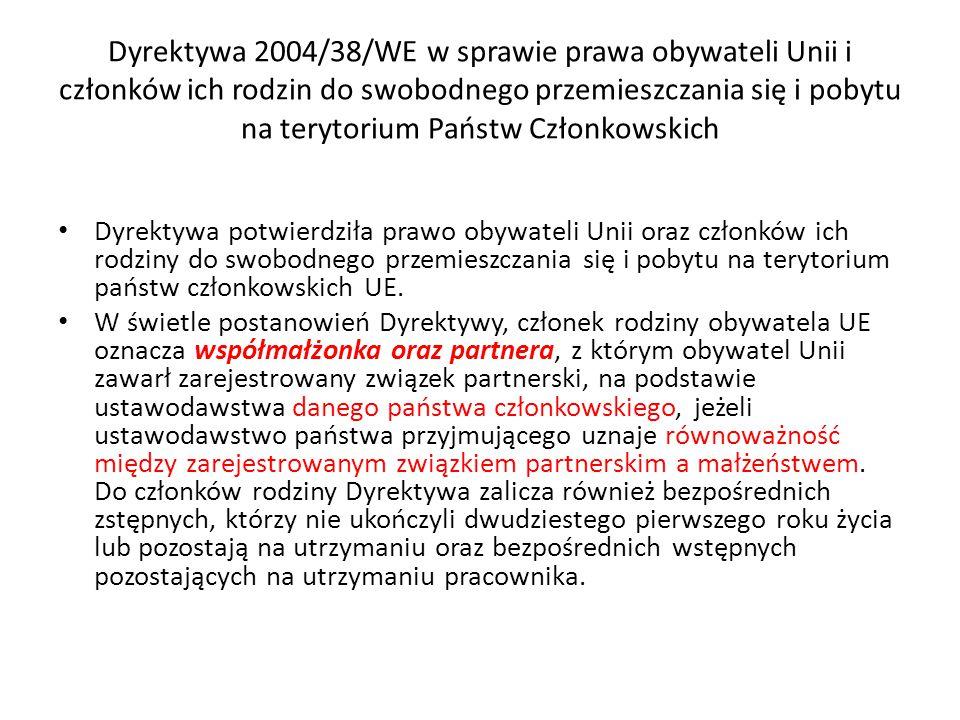 Dyrektywa 2004/38/WE w sprawie prawa obywateli Unii i członków ich rodzin do swobodnego przemieszczania się i pobytu na terytorium Państw Członkowskich