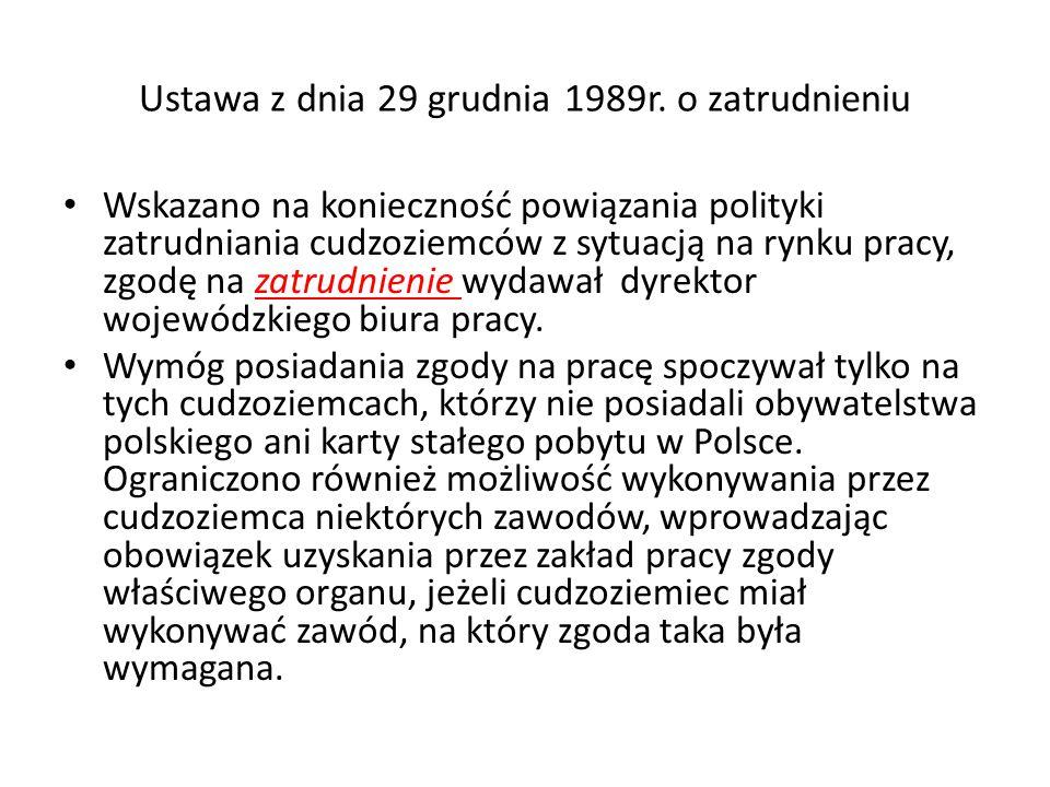Ustawa z dnia 29 grudnia 1989r. o zatrudnieniu