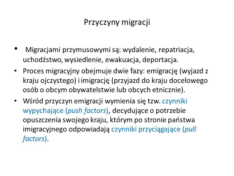 Przyczyny migracji Migracjami przymusowymi są: wydalenie, repatriacja, uchodźstwo, wysiedlenie, ewakuacja, deportacja.