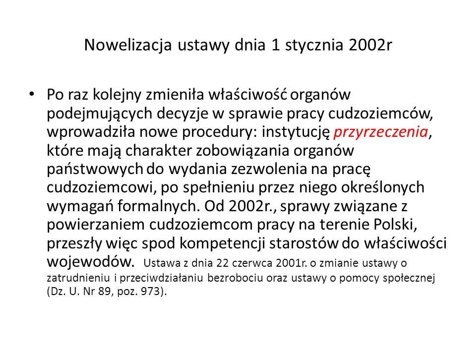 Nowelizacja ustawy dnia 1 stycznia 2002r