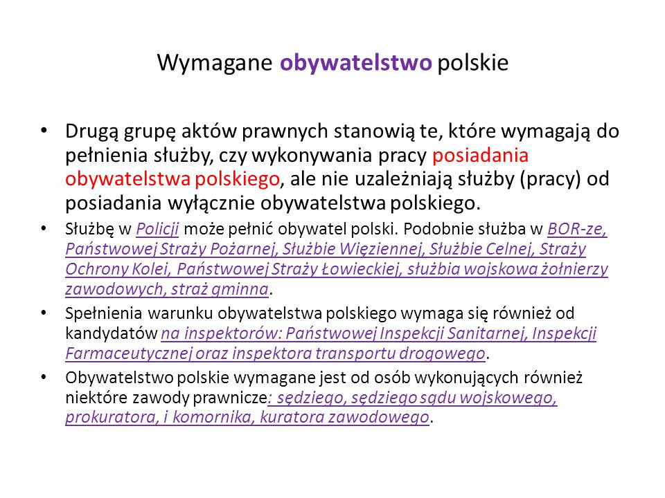 Wymagane obywatelstwo polskie