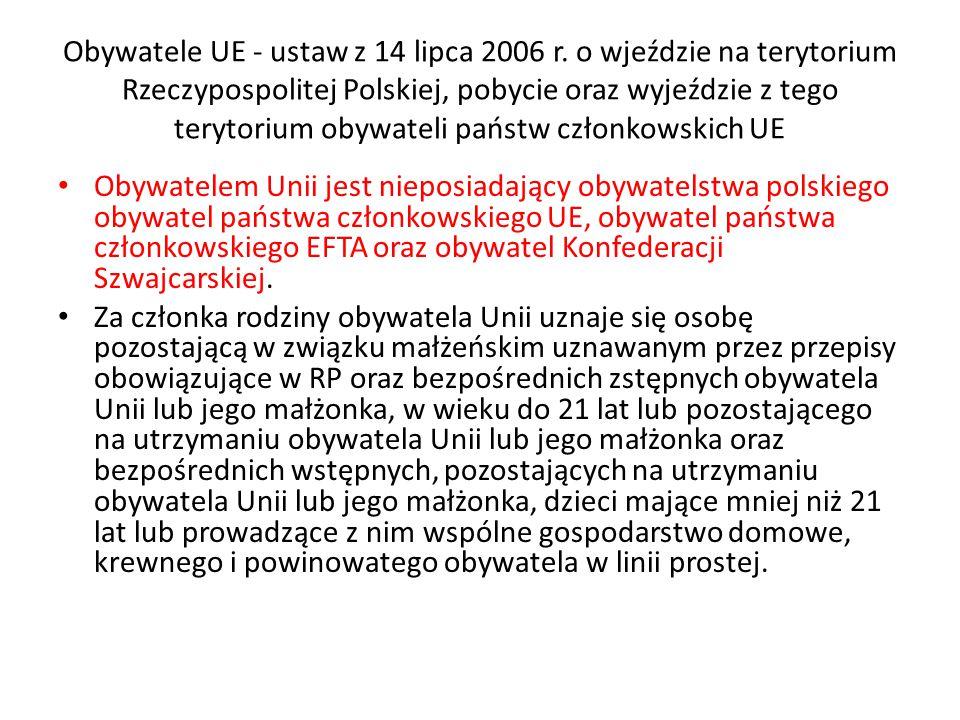 Obywatele UE - ustaw z 14 lipca 2006 r