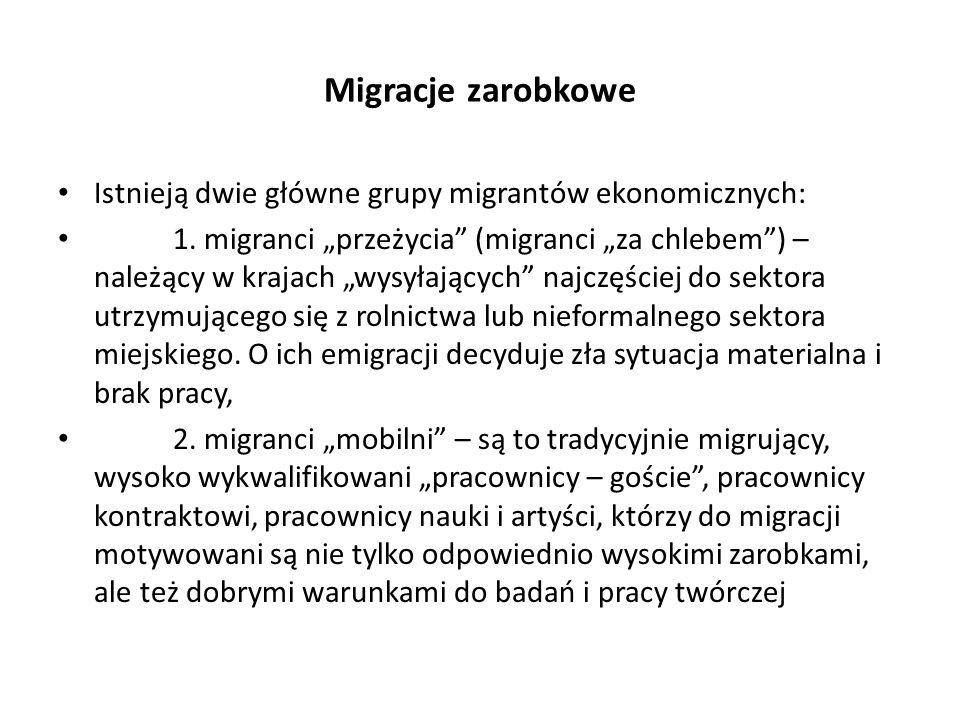 Migracje zarobkowe Istnieją dwie główne grupy migrantów ekonomicznych: