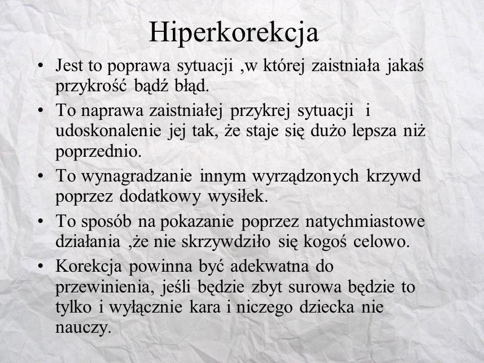 Hiperkorekcja Jest to poprawa sytuacji ,w której zaistniała jakaś przykrość bądź błąd.