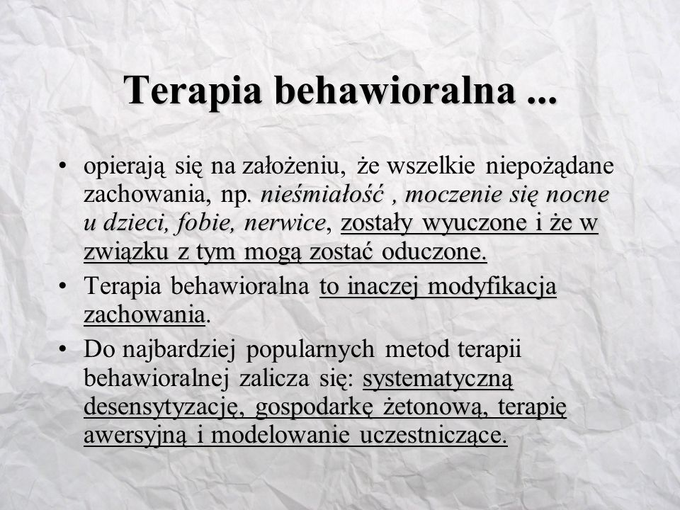 Terapia behawioralna ...