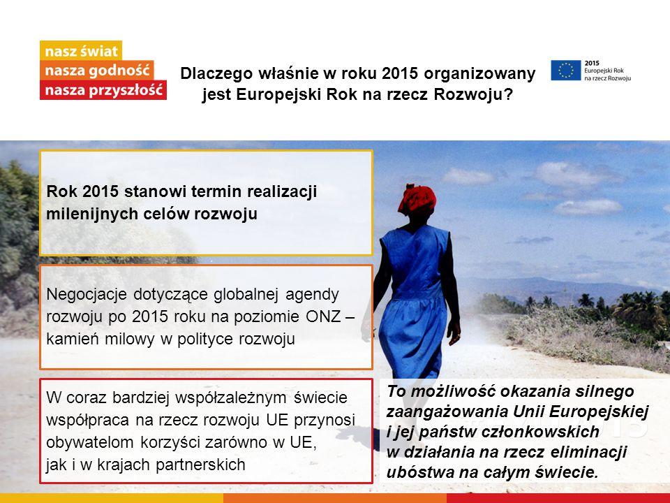 Dlaczego właśnie w roku 2015 organizowany jest Europejski Rok na rzecz Rozwoju