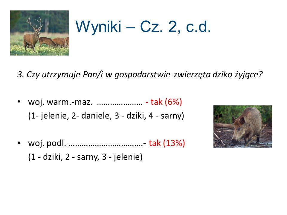 Wyniki – Cz. 2, c.d. 3. Czy utrzymuje Pan/i w gospodarstwie zwierzęta dziko żyjące woj. warm.-maz. ………………… - tak (6%)