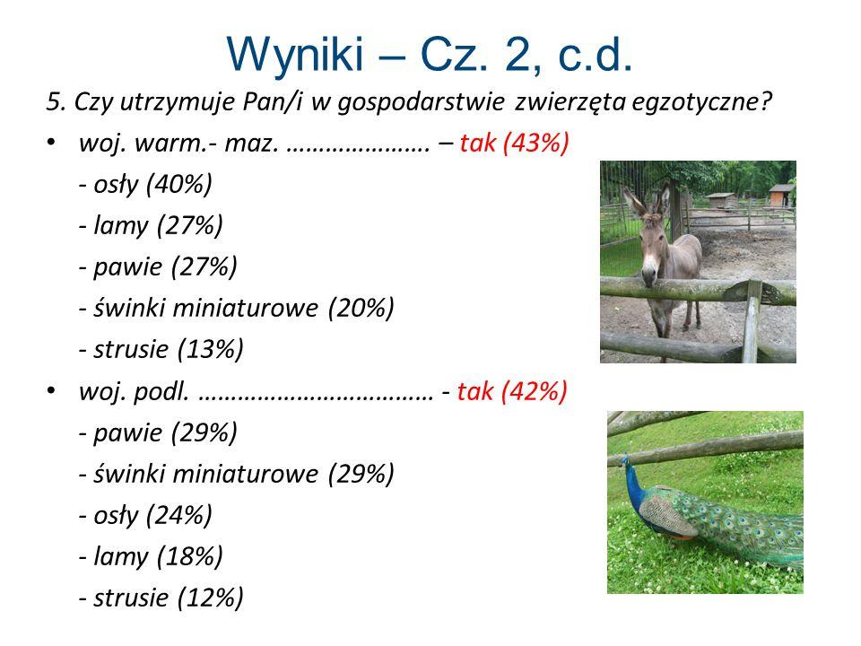 Wyniki – Cz. 2, c.d. 5. Czy utrzymuje Pan/i w gospodarstwie zwierzęta egzotyczne woj. warm.- maz. …………………. – tak (43%)