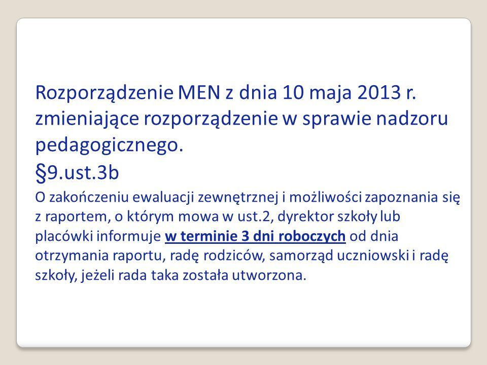 Rozporządzenie MEN z dnia 10 maja 2013 r