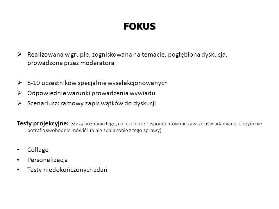 FOKUS Realizowana w grupie, zogniskowana na temacie, pogłębiona dyskusja, prowadzona przez moderatora.