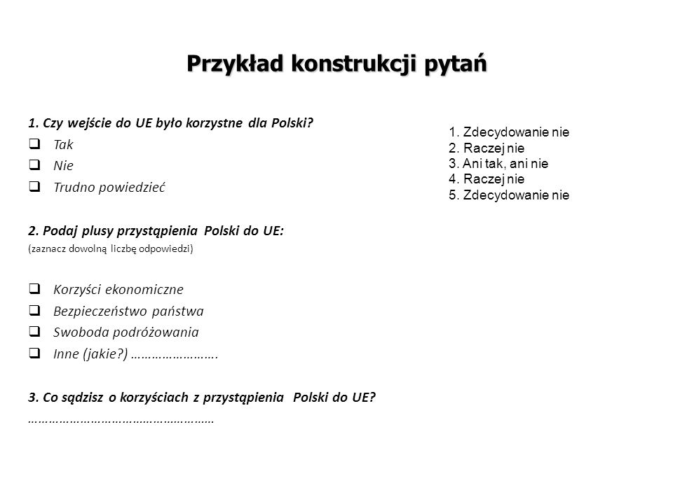 Przykład konstrukcji pytań