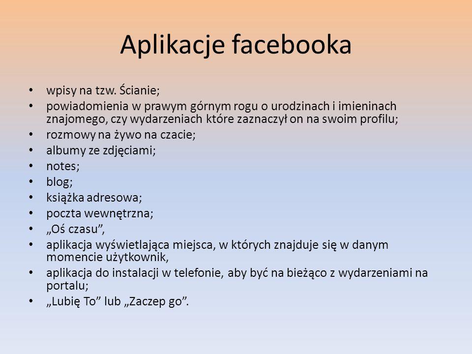Aplikacje facebooka wpisy na tzw. Ścianie;