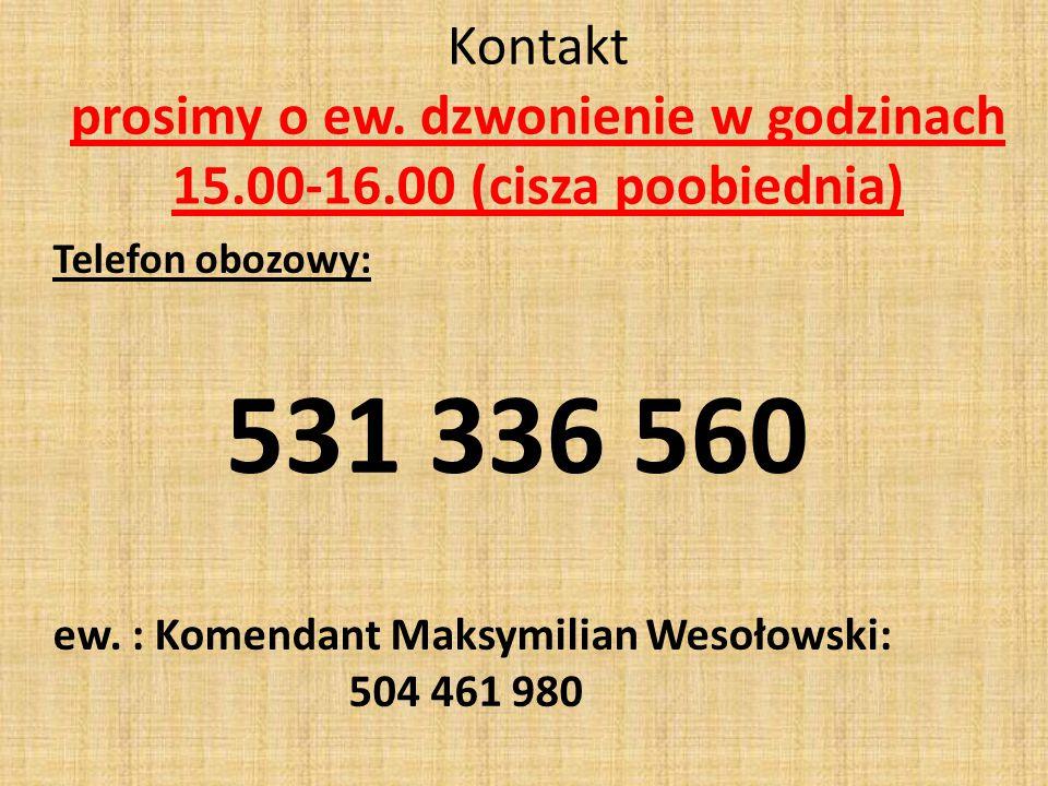 Kontakt prosimy o ew. dzwonienie w godzinach 15. 00-16