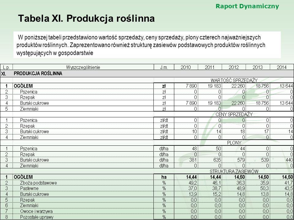Tabela XI. Produkcja roślinna