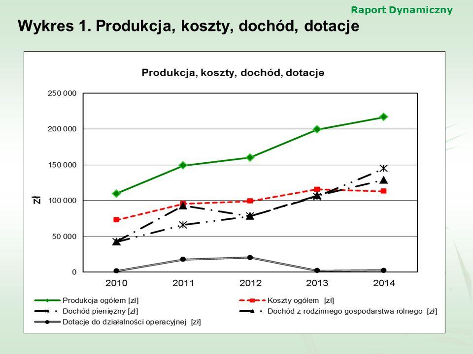 Wykres 1. Produkcja, koszty, dochód, dotacje
