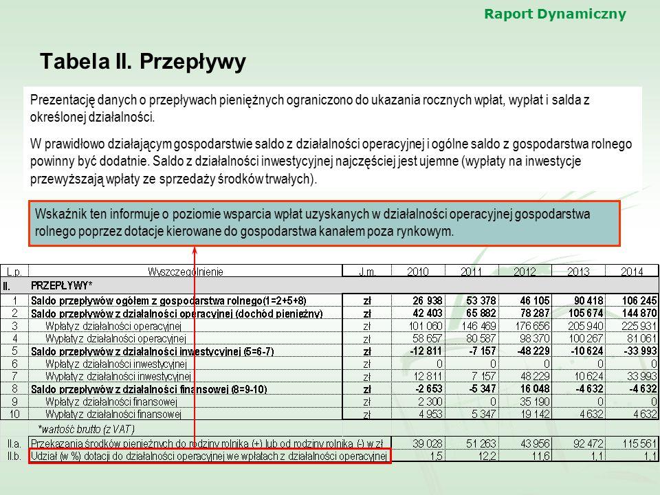 Raport Dynamiczny Tabela II. Przepływy.
