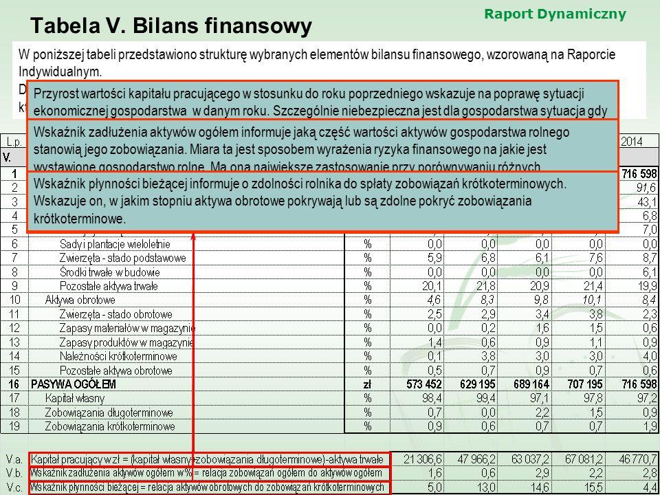 Tabela V. Bilans finansowy