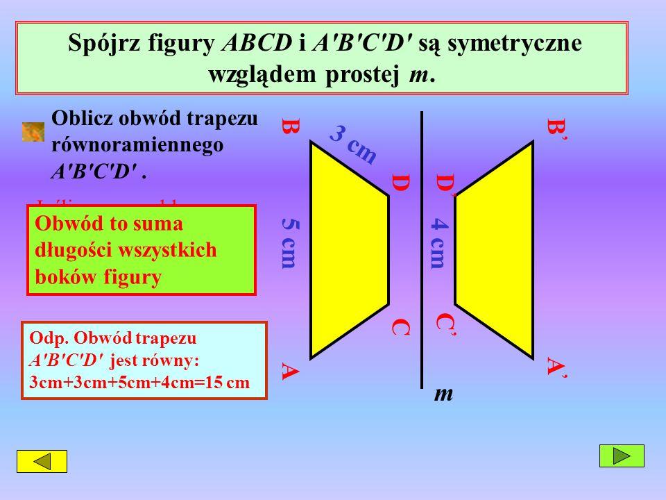 Spójrz figury ABCD i A B C D są symetryczne