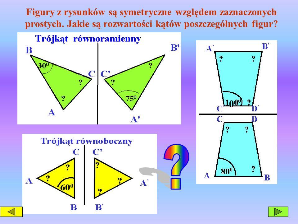 Figury z rysunków są symetryczne względem zaznaczonych prostych
