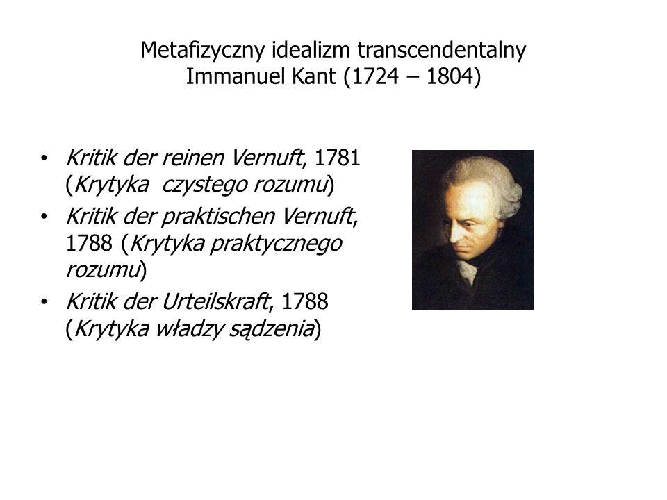 Metafizyczny idealizm transcendentalny Immanuel Kant (1724 – 1804)