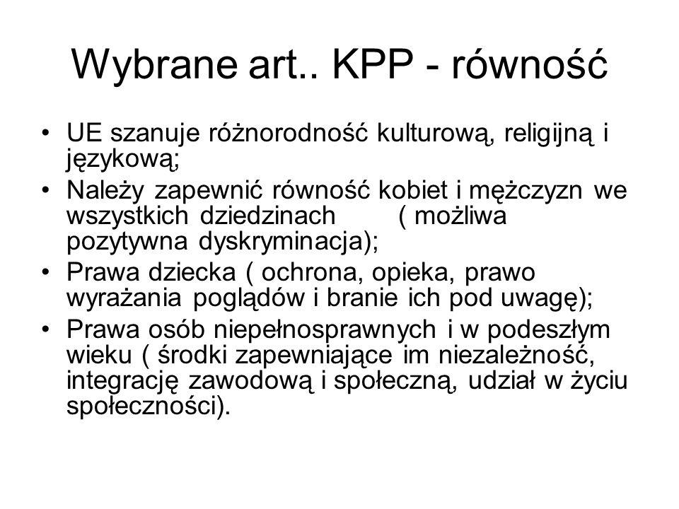 Wybrane art.. KPP - równość