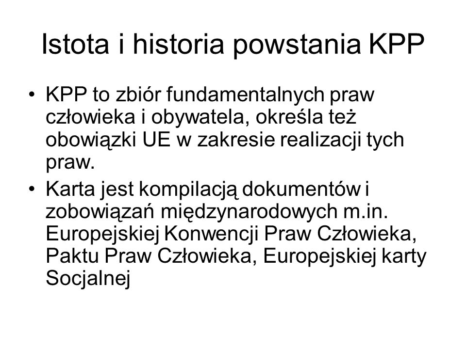 Istota i historia powstania KPP